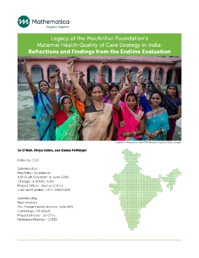 Legacy of the MacArthur Foundation's Maternal Health Quality Care Strategy in India: Reflections and Findings form the Endline Evaluation